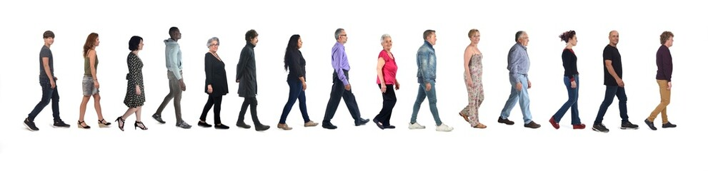 Fototapeta large group of mixed people walking on white background