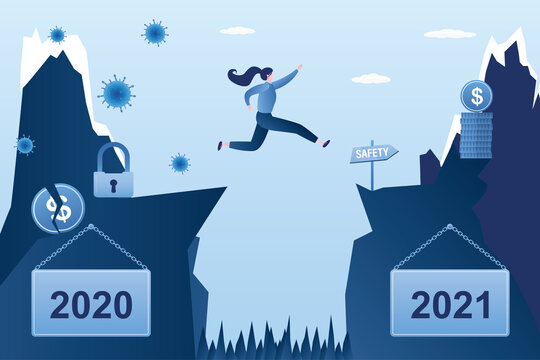 Businesswoman jumping from problems 2020 to new 2021. Jump over an obstacle. Year of coronavirus, lockdown and financial crisis.