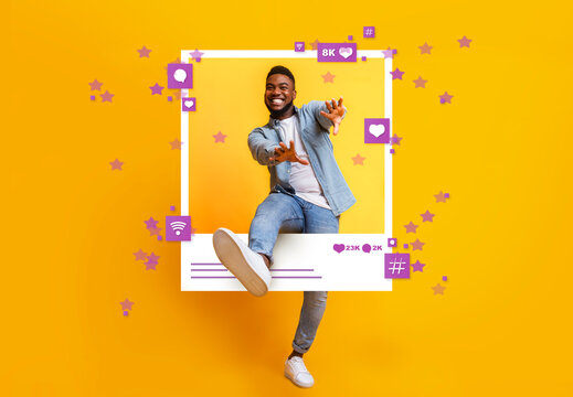 African American guy dancing and jumping out of photo frame on yellow background, collage with social media reactions