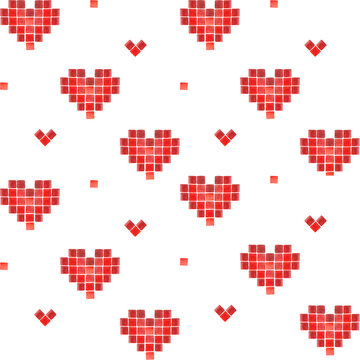 Pixelated heart pattern. Hand painted red watercolor elements. Valentines Day. Trendy old game style. Love. Old-fashion arcade theme. Romantic. Wedding. Passion. Amour.
