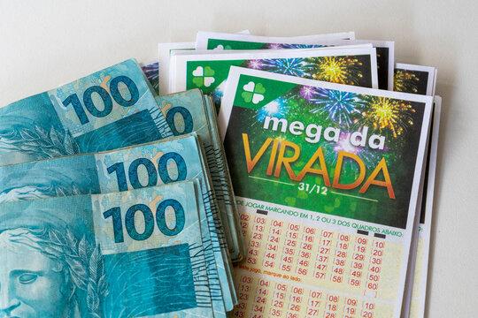 Mega Sena da Virada lottery tickets and Brazilian money