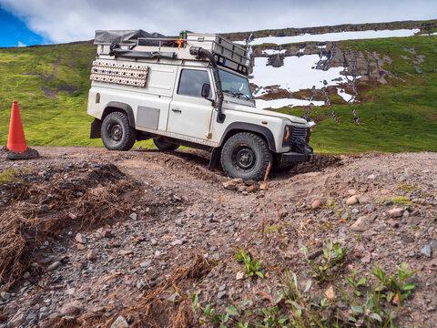 Off-road car on way to Drangajokull