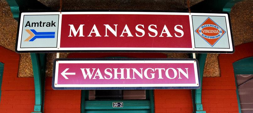 Virginia Railway Express and Amtrak Sign at Manassas Train Station, Manassas, Virginia, USA
