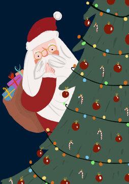 Clip art of Santa Claus hiding behind Christmas tree