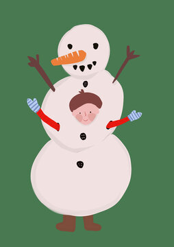 Clip art of little boy wearing snowman costume