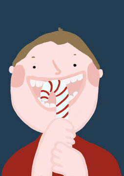 Clip art of boy eating Christmas candy cane
