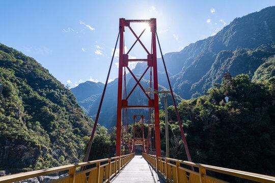 Taiwan, Hualien county, Taroko National Park, Huge bridge in Tianxiang recreational area