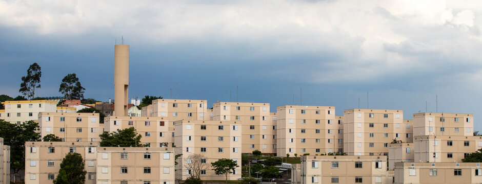 blocks of popular habitation on countryside of Sao Paulo state, Brazil