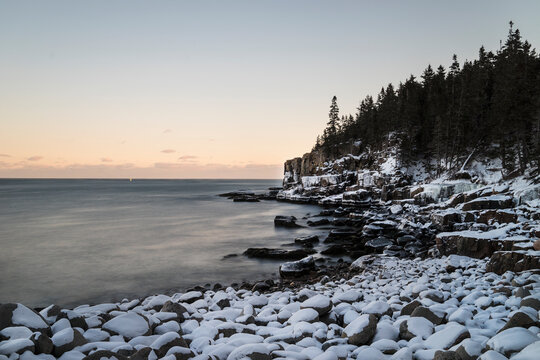 Otter Cliffs in Acadia National Park in winter