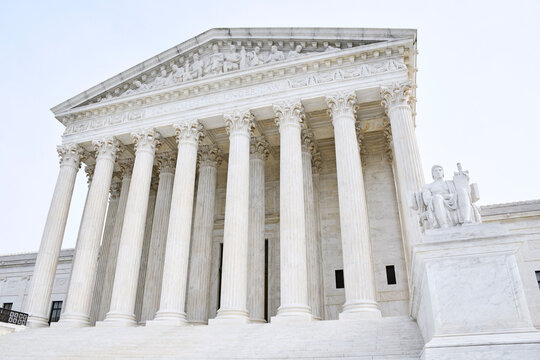 Front entrance to the United States Supreme Court in Washington, DC.