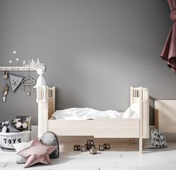 Contemporary children room, wall frame mockup, 3d render