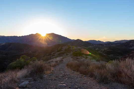 Sunset over hiking trail in Agoura Hills, CA.