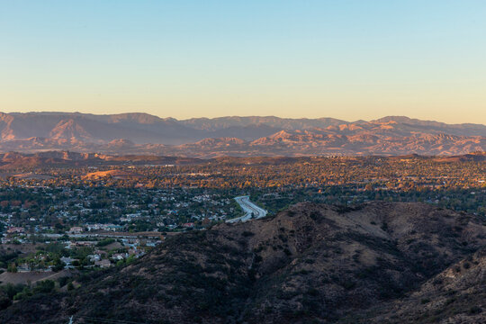 Sunset over the Conejo Valley, California and the 101 freeway.