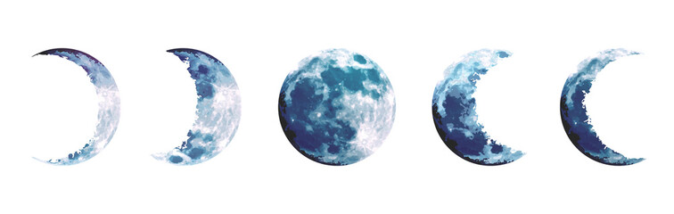 Obraz Magic blue moon phases vector design set - fototapety do salonu