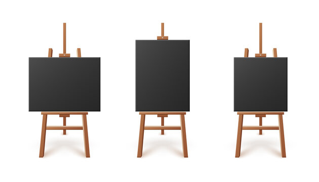Black artboards or canvas standing on easels, 3d vector illustration isolated.