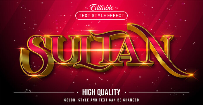 Editable text style effect - Sultan with Gold and Red text style theme.