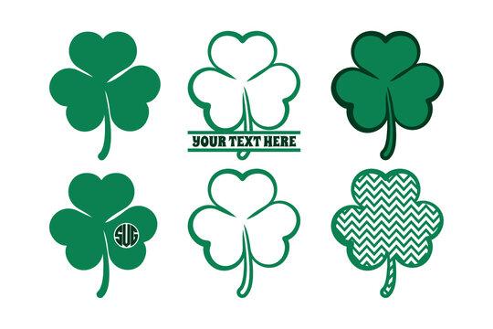 Shamrock SVG Cut File | Saint Patricks Day SVG | Clover Leaf SVG | Split Monogram | St Patricks Day SVG | Three Leaf SVG | Bundle