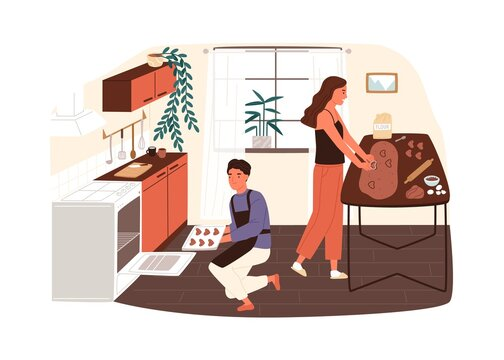Couple preparing cookies or gingerbread at home kitchen vector flat illustration. Smiling woman making biscuits from dough, man putting them in stove to bake isolated. Family enjoy cooking together