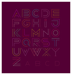 Vector decorative line art font design. Vector illustration featuring the letters of the alphabet from A to Z. Neon colors letters isolated on a dark background.