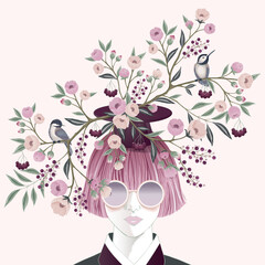 Wall Mural - Vector illustration of a girl wearing sunglasses and decorating the hair with flowers. Design for cards, party invitation, Print, Frame Clip Art and Business Advertisement and Promotion
