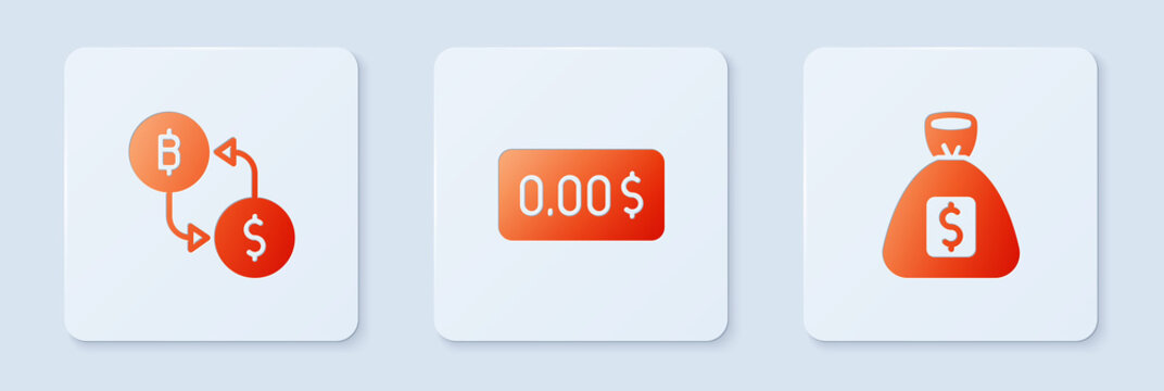 Set Zero cost, Cryptocurrency exchange and Money bag. White square button. Vector.