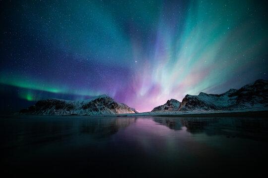 Aurora borealis on the Beach in Lofoten islands, Norway. Green northern lights above mountains. Night sky with polar lights. Night winter landscape.