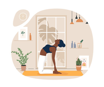 Young woman doing yoga exercises, practicing meditation on lotus pose on the mat. Black female character practicing in yoga studio or home. Trendy flat vector illustration.