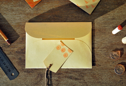 Envelope with tag on the old table