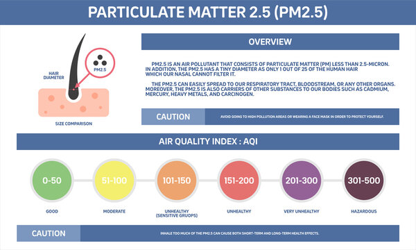 Particulate Matter 2.5 (PM2.5) and air quality index (AQI) infographic. Flat design.