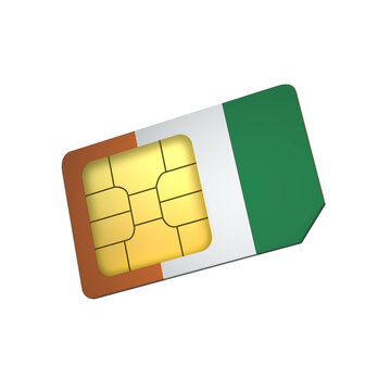SIM Card with Flag of Cote Divoire A concept of Cote Divoire Mobile Operator