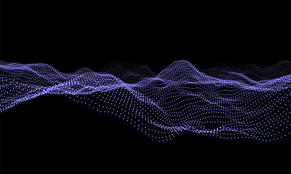 Blue particles wave background. Abstract dynamic mesh. Big data technology. Vector grid illustration.