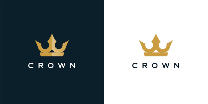 Premium style abstract gold crown logo symbol. Royal king icon. Modern luxury brand element sign. Vector illustration.
