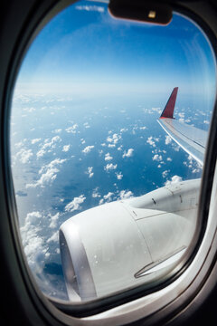 Window view from inside the aircraft during the flight