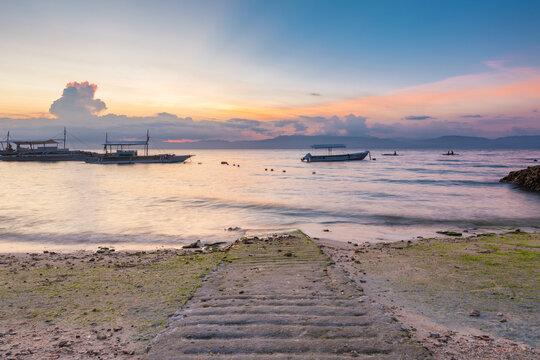 Sunset view of the Moalboal beach, Cebu, Philippines