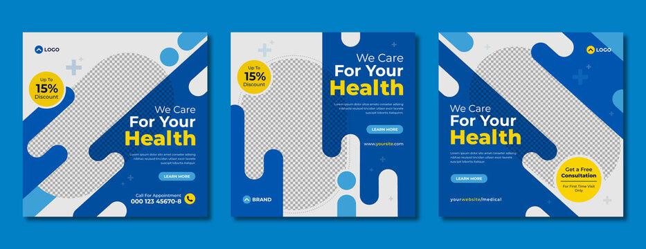 Set of social media post template for medical healthcare service. Digital marketing banner & flyer design with logo for hospital, clinic, dentist & doctor. Health promotion template for web & website.