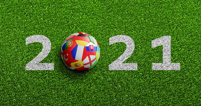 Soccer ball with flags texture on green soccer field and 2021 numbers