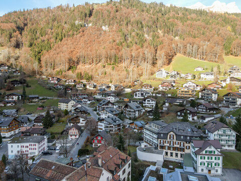 Aerial view at the village of Engelberg in the Swiss Alps