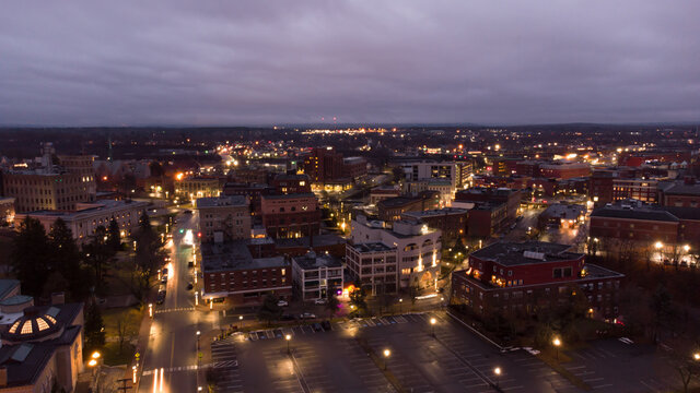 Aerial photo Bangor Maine at night twilight colors