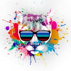 abstract colored tiger muzzle in eyeglasses