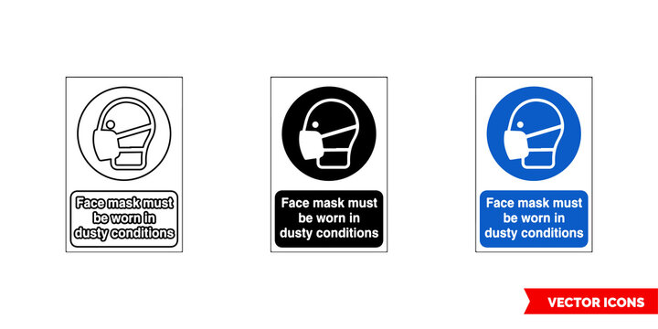 Mandatory signs face mask must be worn industy conditions icon of 3 types color, black and white, outline. Isolated vector sign symbol.