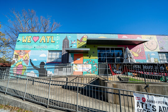 Photo of businesses and shops seen along the Atlanta BeltLine fitness trail and scenic walkway