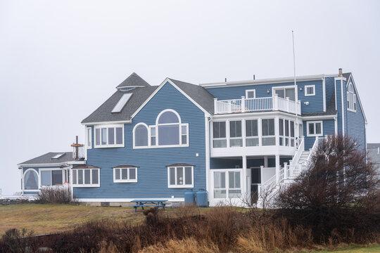 York, ME, USA - December 12, 2020: Luxury mansion on Nubble Road York Maine USA