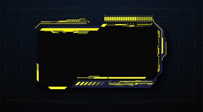 HUD, UI, GUI futuristic user frame interface screen elements set. High tech screen for video game. Sci-fi concept design. Square Frames Blocks Set HUD Interface Elements. Vector