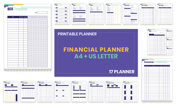 Minimalist Financial planner Bill,Debt,Payoff,Log,monthly,weekly,budget,Saving,Income,Expenses,Account,Credit Card,Goal,Calendar,pages templates collection set of vector A4 and US Letter Ai, EPS 10