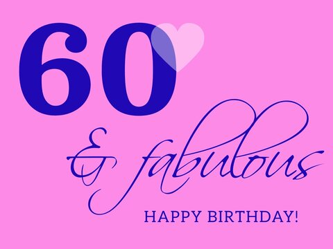 60th happy birthday card illustration in retro style.