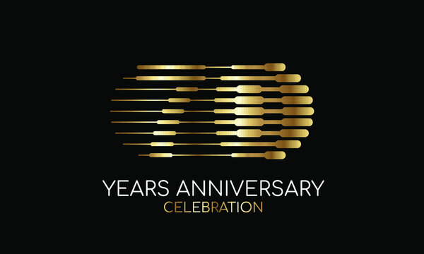 70th anniversary logo formed by parallel lines of different weights in gold and silver for a celebration. Vector