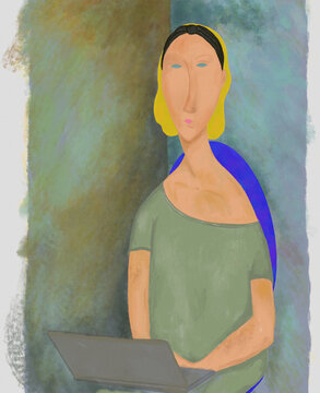 WOMAN WITH COMPUTER. Modigliani style oil painting of woman with computer