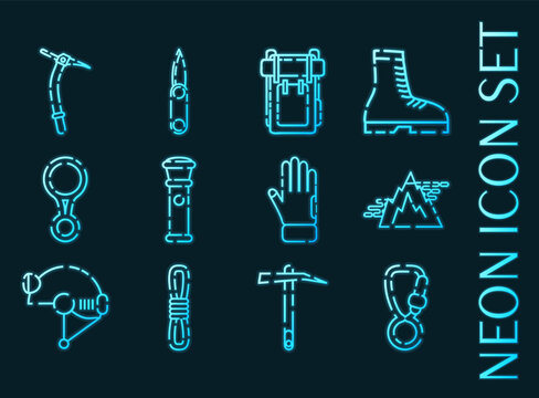 Speleologist set icons. Blue glowing neon style