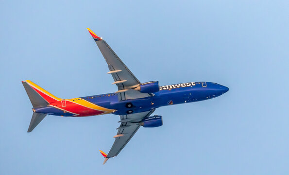 Denver, Colorado - December 16, 2020: Southwest Airlines Boeing airplane against a blue sky.