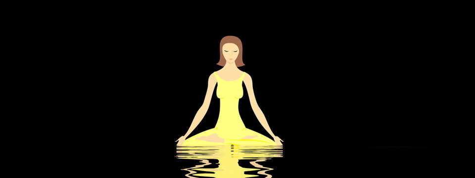 Young woman meditating peacefully upon water by deep black night - 3D render